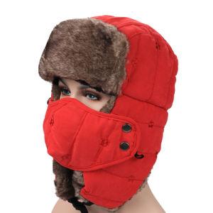 2017 Earflap Winter Black Fur Hats Warm Winter Snow Women Cap with Face Mask pictures & photos