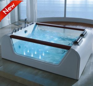 Acrylic Bathroom Hot Massage Bathtub with Side Glass (SR5B008) pictures & photos