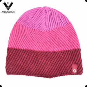 Lady′s Fashionable Acrylic Twill Pattern Wave Knit Hat pictures & photos