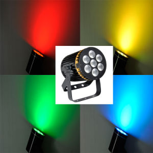 7PCS8w Gold Ring RGBW 4in1 Flat LED Stage PAR Can Light pictures & photos