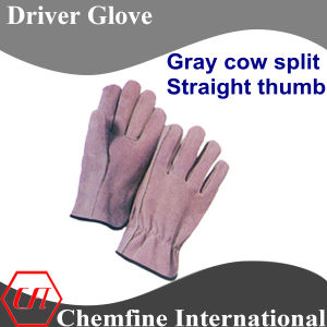 Gray Cow Split, Straight Thumb Leather Driver Glove pictures & photos