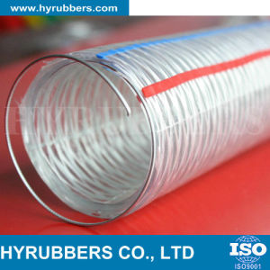 Hyrubbers Transparent PVC Steel Wire Reinforced Hose / Flexible Plastic Pipe Tube/ PVC Hose pictures & photos