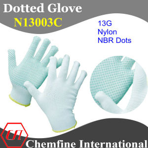 13G White Nylon Knitted Glove with Blue NBR Dots pictures & photos
