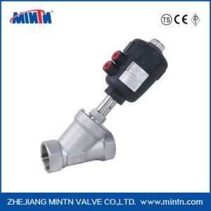 Mintn Pneumatic Stainless Steel Thread Ends Angle Seat Valve with Plastic Actuator