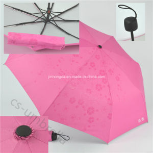 Show Fower Pg Fabric with Silver 3 Folding Umbrella (YS3F0006) pictures & photos