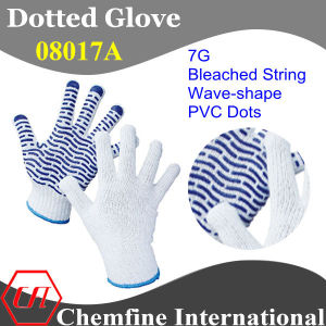 7g Bleached Polyester/Cotton Knitted Glove with Purple Wave-Shape PVC Dots pictures & photos