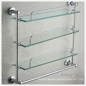 Clear Tempered/Toughened Glass Multilayer Bathroom Shelf
