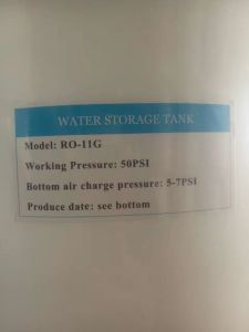 11G Pressure Plastic Tank for RO Water Purifier pictures & photos
