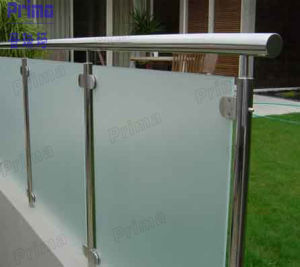 Frosted Glass Railing with Stainless Steel Handrail pictures & photos