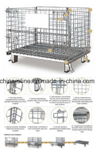 Stackable Folded Galvanized Steel Welded Wire Mesh Container pictures & photos