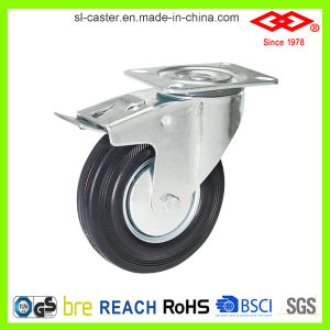 Black Rubber Bolt Hole with Brake Caster (G102-11D080X25S) pictures & photos