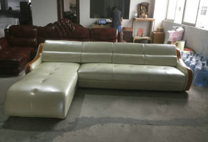 Green Color Modern L Shape Leather Sofa Home Furniture (C22) pictures & photos