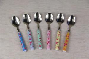 6 PCS S/S Dessert Spoons with Flower Handles (LS-8009)
