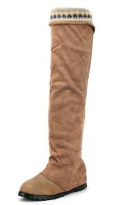 Gd Nordic Style Knitting Stitching Casual Warm Over The Knee Boots for Women pictures & photos