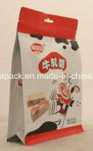 Plastic Food Packaging Stand up Flat Bottom Bag with Zipper pictures & photos