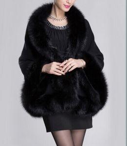 Wool Blend Fur Trim Cape pictures & photos