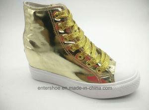 Gold Mirror PU Women Casual Hidden Wedge Shoes (ET-LD160340W)