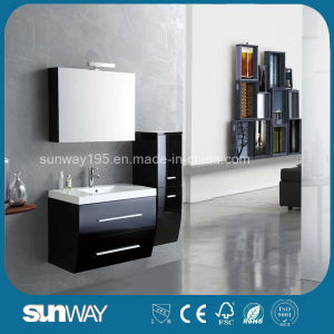 Hot Sale Black Painting MDF Bathroom Cabinet with Sink (SW-1314) pictures & photos