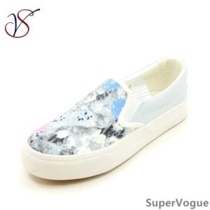 Two Color Fashion Canvas Leisure Women Lady Vulcanized Shoes with Flax Abac-003 Black pictures & photos