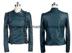 Fashion Punk PU Winter Jacket for Lady/Women, Leather Garment pictures & photos