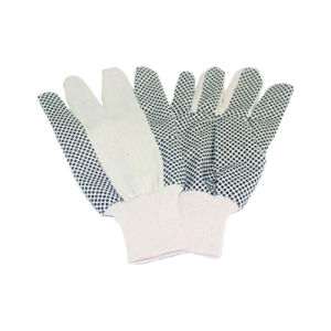 Original Color Woven Cloth Garden Glove with Black PVC Dots