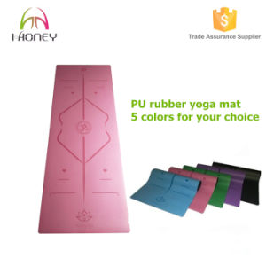 High End Eco-Friendly PU Natural Rubber Pink Yoga Mat Laser Edge Anti-Friction, Anti-Slip and Wet Absorbent pictures & photos