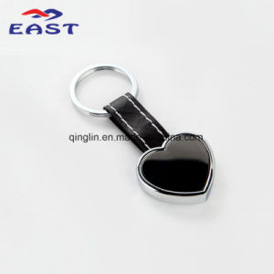 Custom Heart Shape Metal Black Leather Key Ring (PQ-16108) pictures & photos
