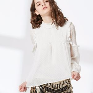 Long Sleeve Fashion Women Jacquard Chiffon Blouse pictures & photos