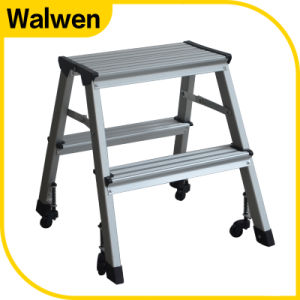 A Shape Folding Household Aluminum Step Stool with Wheels pictures & photos