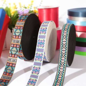 Customized Polyester Pattern Satin Embroidery Wire Edged Ribbon