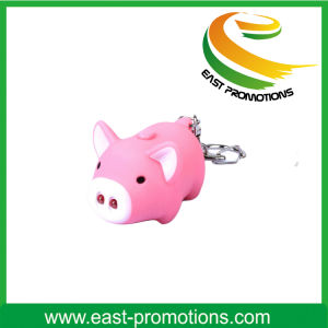 Promotional Mini Cute Pig LED Keychain with Logo pictures & photos
