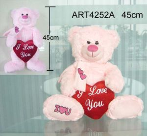 Pink Bear Carrying Red Heart-Valentine Gift pictures & photos