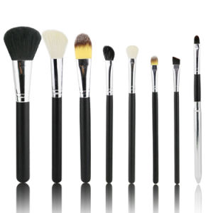 8PCS Goat Hair Black Essential Makeup Brushes Set with Bag pictures & photos