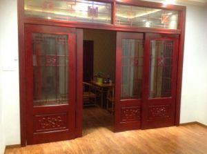Solid Wood Sliding Door with Glass (DS-308) pictures & photos