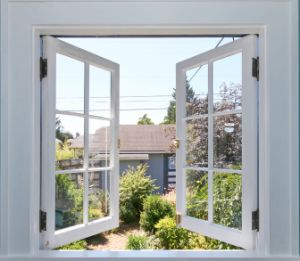 UPVC Casement Window PVC Double Glass Swing Window with Grils