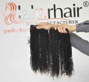 Unprocessed Labor Hair Extension 105g (+/-2g) /Bundle Natural Brazilian Virgin Hair Kinky Curly 100% Human Hair Weaves Grade 9A pictures & photos