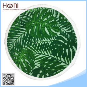 Round Jacquard Beach Towel with Tassel Fring Factory Softtextile Beach Towel pictures & photos