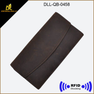 RFID Blocked Functional Classical Leather Wallet for Lady′s