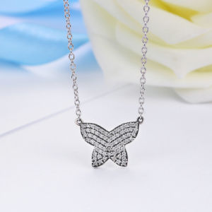 925 Sterling Silver Dancing Butterfly Clear CZ Pendants Necklace Silver Jewellery pictures & photos