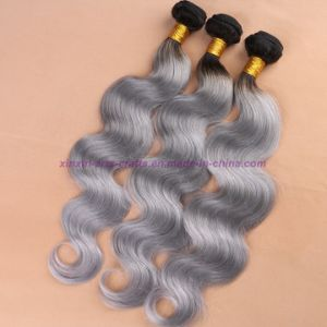 8A Grade Indian Grey Hair Weave Top Quality Body Wave Soft Ombre Human Hair Extensions pictures & photos