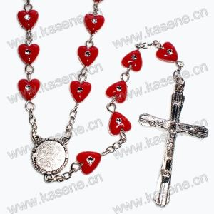 High Quality Red Heart Beads Rosary, Cross Necklace