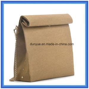 Trendy Customized Special Kraft Paper Casual Messenger Bag, Hot Sale Waterproof Kraft Paper Shopping Single Shoulder Bag with Golden Colour Metal Belt pictures & photos