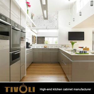 Solid Wood Veneer White High Gloss Kitchen Cabinet for Residential Apartments Australia pictures & photos