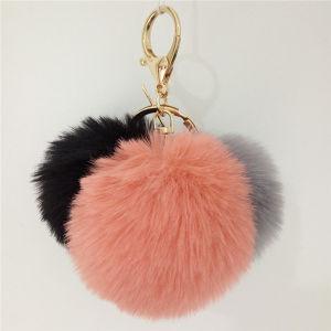 Fake Rabbit POM POM Fur Balls 3 Balls Keychain pictures & photos