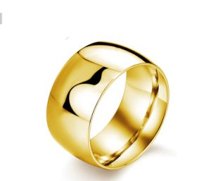 Anti Rust Plain Coated Titanium Steel Golden Fashion Mens Stainless Steel Rings Jewelry pictures & photos