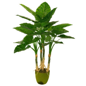 "Polyester Natural Looking Artificial Plants of 100cm Taro with 8"" Plastic Pot, 4 Stems, 29 Lvs"