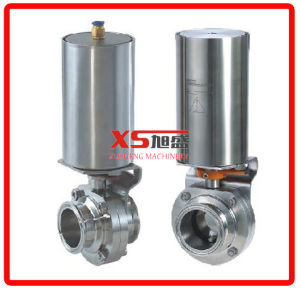 Single Acting Actuator Hygienic Stainless Steel Three Pieces Butterfly Valves pictures & photos