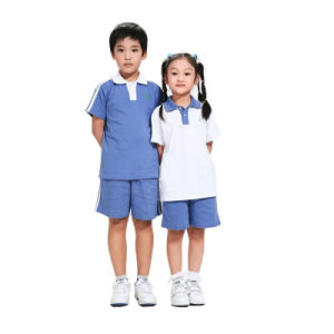 China Factory Blue Primary School Uniform Polo Shirt of 100%Cotton pictures & photos