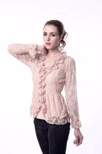 Women Pink Lace Two Piece Blouse Set pictures & photos