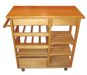 Chinese Fir Four Layers Storage Cart with Wheels pictures & photos